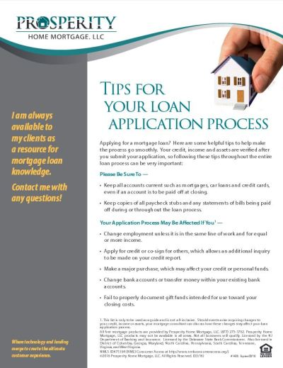 Tips For Your Loan Application Process - Prosperity Home Mortgage, LLC