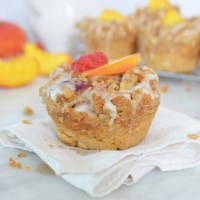 peach crumb muffin recipe {vegan}