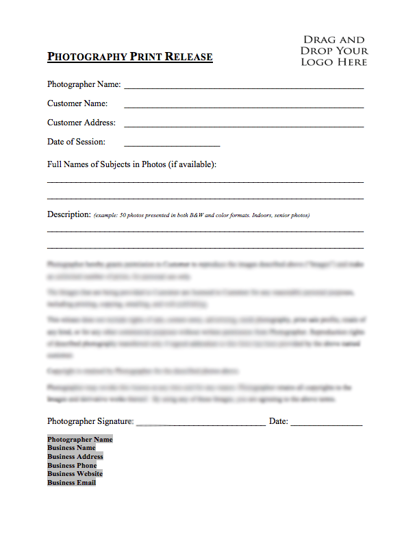 Portrait Photography Contract Template – Photography Contract