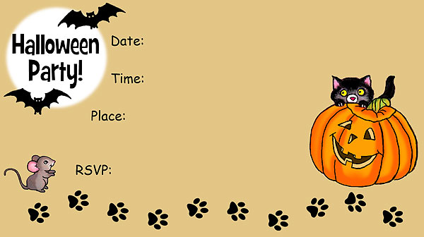 Black Cat Halloween Invitations - Free Printable Fill-In Invitations