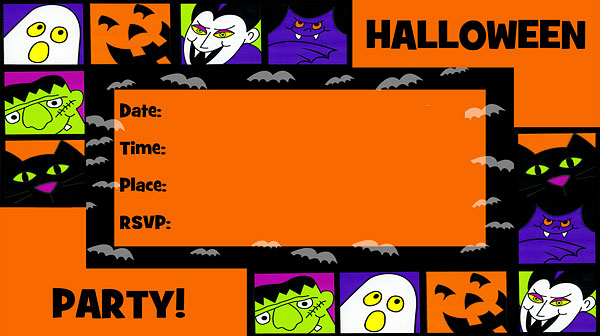 Bold Halloween Invitations - Free Printable Fill-In Invitations For