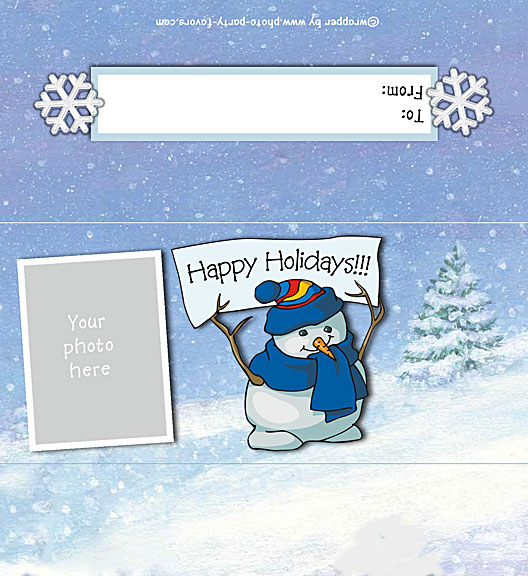 Happy Holidays Photo Candy Bar Wrapper - Free Printable Chocolate