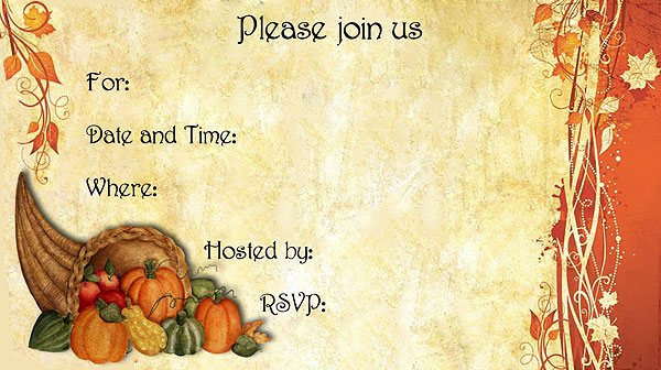 Thanksgiving Invitation Template \u2013 diabetesmanginfo