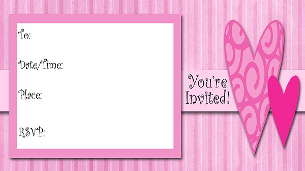 Hearts Invitations - Free Printable Fill-In Invitations