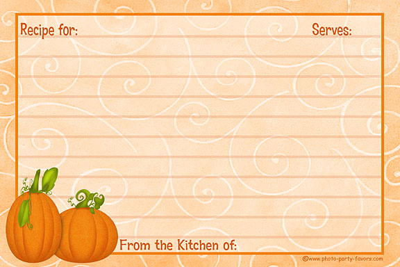 Pumpkin Recipe Cards - Free Printable 4 x 6 Inch Fall Theme Recipe - recipe card