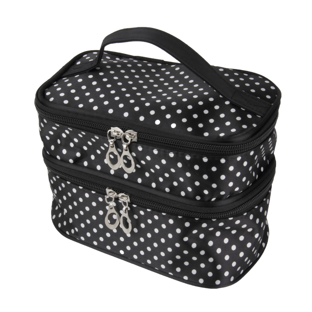 Hanging Dot Zip Cosmetic Bag Makeup Pouch Travel Toiletry