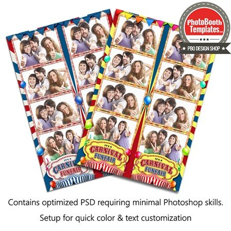 Carnival Celebration 4-up Strips Photo Booth Template - 4up template