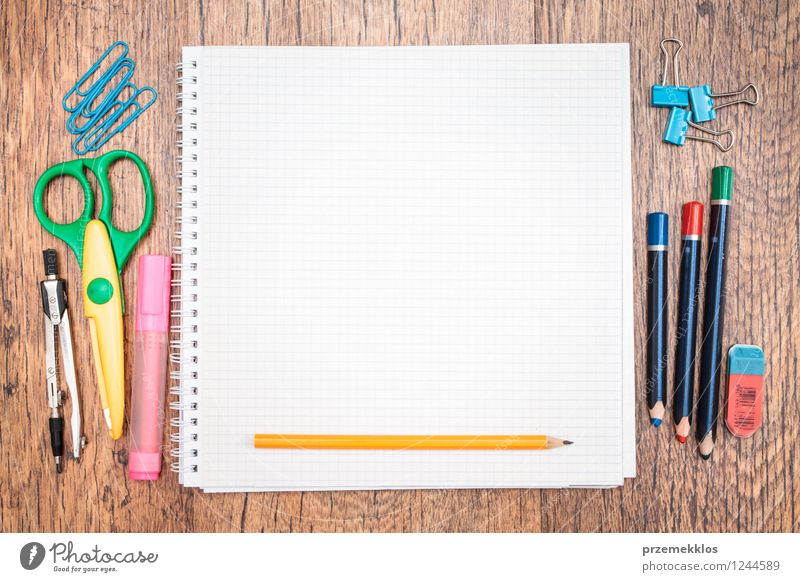 Notepad with pencil and other accessories - a Royalty Free Stock