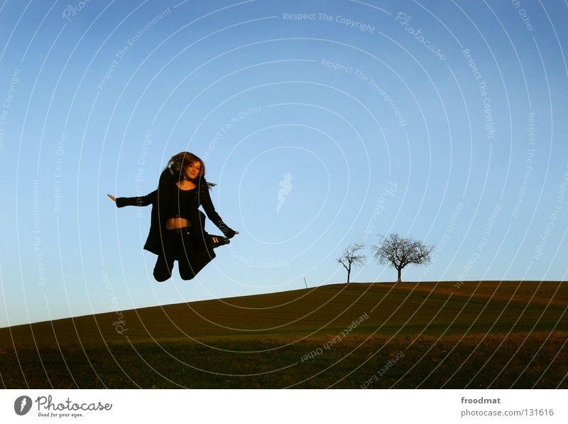 Woman Music Jump Movement A Royalty Free Stock Photo