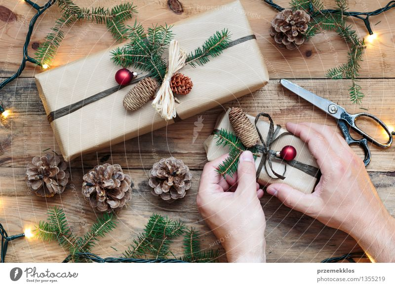 Decorating Wrapped Christmas Presents A Royalty Free