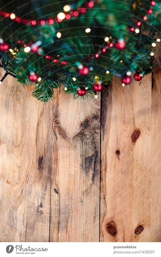 Christmas tree on wooden background - a Royalty Free Stock Photo