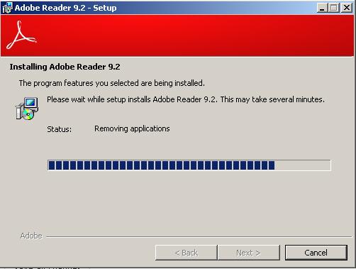 Adobe Reader 9_2 during installation