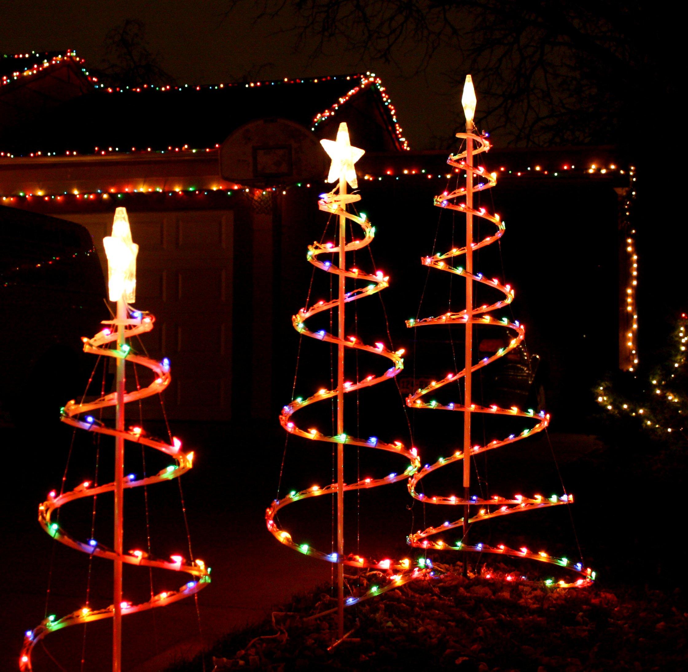 Three Spiral Christmas Trees