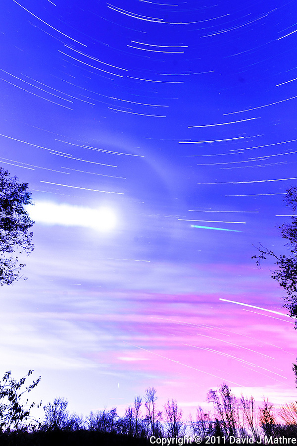 South View Star Trails. Late Autumn Night in New Jersey. Image taken with a Nikon D3 and 14-24 f/2.8 lens (ISO 200, 15 mm, f/5.6, 60 sec). Composite of images 501-575 combined using the Startrails program. (David J Mathre)