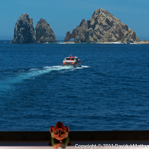 View from my Cabin on the M/V Explorer. Tender Vessel traveling from the M/V Explorer to Cabo San Lucas. Image taken with a Nikon D3x and 105 mm f/2.8 macro lens (ISO 100, 105 mm, f/25, 1/160 sec) and SB-900 flash. (David J Mathre)