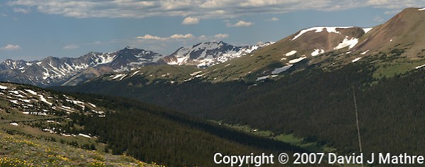 Rocky Mountain National Park Panorama on Trail Ridge Road. Images taken with a Nikon D200 and 105 mm f/2.8 VR macro lens (ISO 100, 105 mm, f/11, 1/160 sec). Composite of five images using Auto Pano Giga 2.5 and the DeHaze Plugin. Additional processing with Focus Magic, Nik Define, and Photoshop CS5. (David J Mathre)
