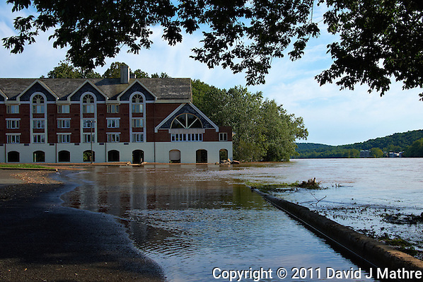 Lambertville Inn. Delaware River at Near Flood Stage after Hurricane Irene. Image taken with a Nikon D700 and 28-300 mm VR lens (ISO 200, 42 mm, f/8, 1/640 sec). Raw image processed with Capture One Pro 6, Nik Define 2, and Photoshop CS5. (David J Mathre)
