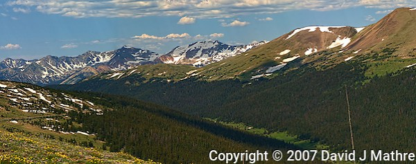Rocky Mountain National Park Panorama on Trail Ridge Road. Images taken with a Nikon D200 and 105 mm f/2.8 VR macro lens (ISO 100, 105 mm, f/11, 1/160 sec). Composite of five images using Auto Pano Giga 2.5 and the DeHaze Plugin. Additional processing with Focus Magic, Nik Define, Topaz Detail (Color Jump), and Photoshop CS5. (David J Mathre)