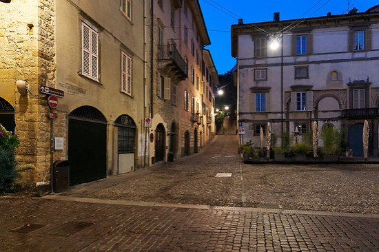 Empty streets of Bergamo, Italy at night on February 21, 2020 during caronavirus outbreak (Brad Mitchell Photography)
