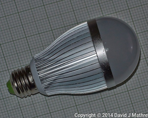 LED Light Bulb -- TV Interference. There is no identification markings on this light bulb. Image taken with a Nikon 1 V2 camera and 32 mm f/1.2 lens (ISO 160, 32 mm, f/8, 1/60 sec) pop-up flash -1.0EV. (David J Mathre)