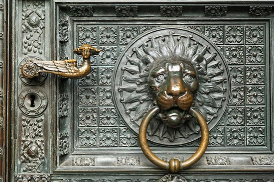 Cologne Cathedral door knocker, Cologne, Germany, Europe (Brad Mitchell)