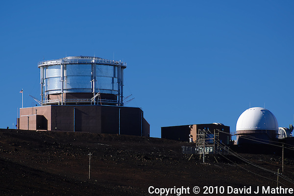 Haleakala Air Force Satellite Tracking Station.  Image taken with a Nikon D3x and 70-300 mm VR lens (ISO 100, 300 mm, f/8, 1/500 sec) (David J Mathre)