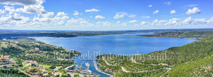 This is an aerial pano view of Lake Travis taken at around 300 AGL ft.  We loved that the lake is finally full for the first time in many years and we had good clouds and sky on this day.  You can see the marina below, along with the dam, and the full bowl of the lake and you can also see the  river channel as it meanders though the hill country. (Tod Grubbs & Cynthia Hestand)