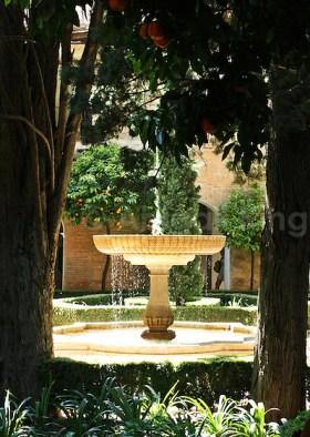 Fountain & oranges inside the Alhambra