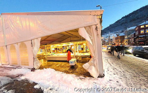 Early Morning Fish Market in Bergen. Image taken with a Nikon Dxs and 10.5 mm f/2.8 fisheye lens (ISO 800, 10.5 mm, f/3.5, 1/50 sec) (David J. Mathre)