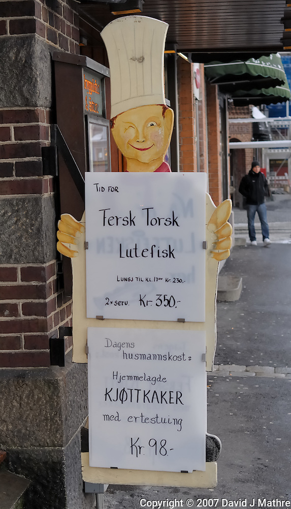 Lutefisk in Bergen, Norway. Image taken with a Nikon Dxs and 35 mm f/2D lens (ISO 100, 35 mm, f/4, 1/60 sec) (David J. Mathre)