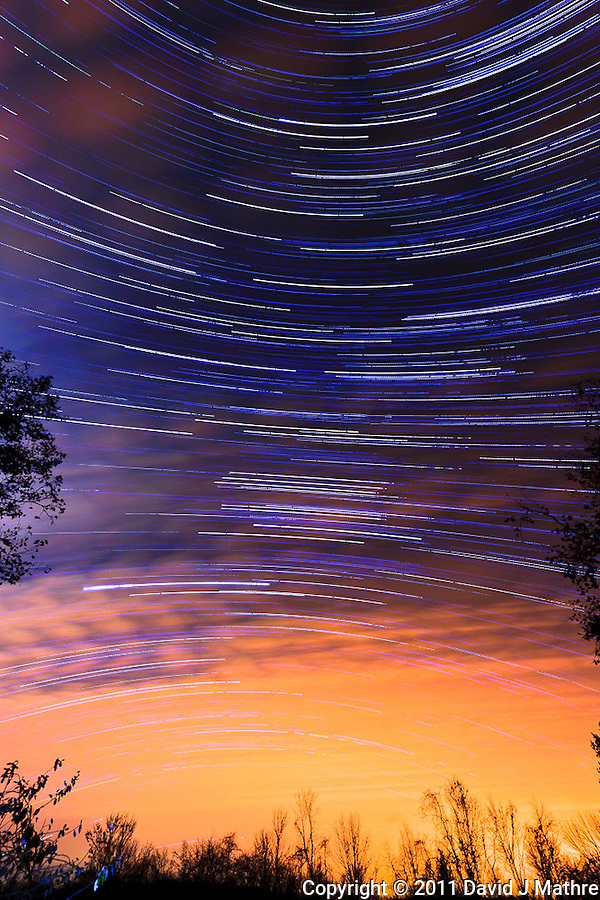 South View Star Trails. Late Autumn Night in New Jersey. Image taken with a Nikon D3 and 14-24 f/2.8 lens (ISO 200, 15 mm, f/5.6, 60 sec). Composite of images 301-400 combined using the Startrails program. (David J Mathre)