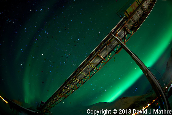 Northern Lights and Coal Mine on Kvaløy (Whale) island in Norrway. Image taken with a Nikon D800 and 16 mm f/2.8 fisheye lens (ISO 800, 16 mm, f/2.8, 30 sec).. (David J Mathre)