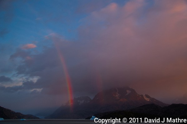 Early Morning Rainbow, Lago Grey, Torres del Paine, Chile. Image taken with a Nikon D3s and 28-120 mm f/4 lens (ISO 200, 31 mm, f/5.6). HDR composite of 4 images using HDR Express (David J Mathre)