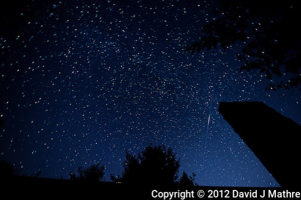 Late Fall Night Sky and Leonid Meteors Trail over New Jersey. Images taken with a Nikon D4 and 14-24 mm f/2.8 lens (ISO 100, 14 mm, f/2.8, 1 min). (David J. Mathre)