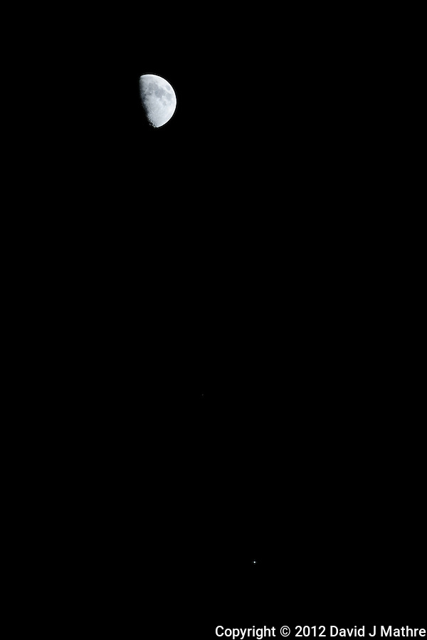 Moon with Jupiter in Conjunction. Image taken with a Nikon D3x and 300 mm f/2.8 VR lens (ISO 100, 300 mm, f/5.6, 1/100 sec). (David J Mathre)
