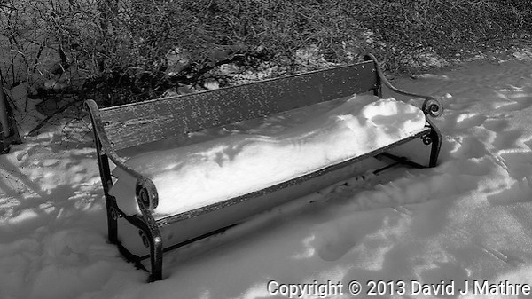Lonely snow covered bench in Tromsø, Norway. Image taken with a Leica X2 camera (ISO 100, 24 mm, f/5, 1/320 sec). (David J Mathre)