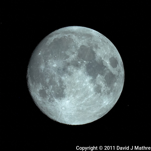 "Nearly Full Moon. Image taken with Nikon D3s and Questar 3.5"" telescope (ISO 1600, ~1500 mm, f/16, 1/1000 sec). Raw image processed with Capture One Pro and Photoshop CS5 (David J. Mathre)"