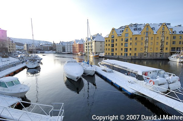 Ålesund Harbor in Winter. Image taken with a Nikon D2xs and 12-24 mm f/4 lens (ISO 100, 12 mm, f/6, 1/160 sec). (David J. Mathre)