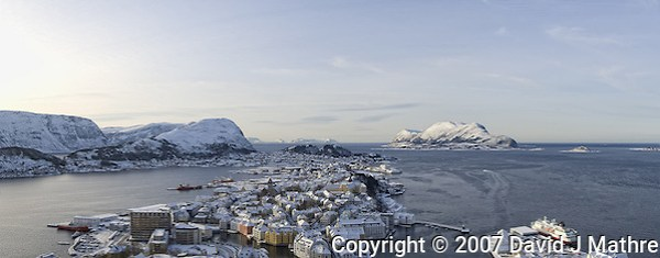 Ålesund Winter Panorama. Image taken with a Nikon D2xs and 12-24 mm f/4 lens (ISO 400, 24 mm, f/11, 1/500 sec). Composite of 3 images combined with Kolor AutoPano Giga Pro. (David J Mathre)