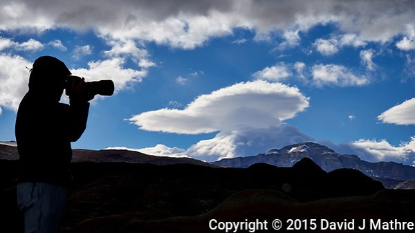 Silhouette and lenticular clouds in Patagonia. Image taken with a Fuji X-T1 camera and 55-200 mm lens (ISO 200, 55 mm, f/16, 1/250 sec). (David J Mathre)