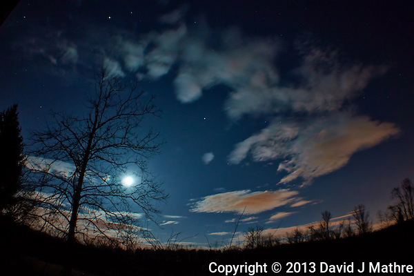 New Jersey Early Spring Night Sky with Moon and Clouds. Image taken with a Nikon 1 V2 and 10 mm f/2.8 lens + Olympus Fisheye adapter (ISO 160, 10 mm, f/2.8, 10 sec). (David J Mathre)