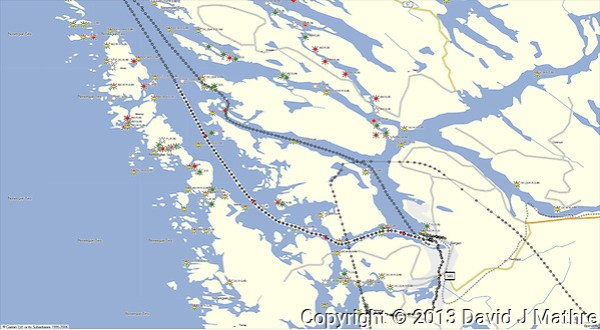 GPS Track: Northbound Hurtigruten M/V Nordkapp Day 1 (23.6 miles) (David J Mathre)