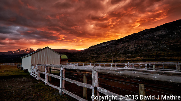Dawn in Patagonia at Estancia Christina. Image taken with a Fuji X-T1 camera and Zeiss 12 mm f/2.8 lens (ISO 200, 12 mm, f/2.8, 1/60 sec). (David J Mathre)