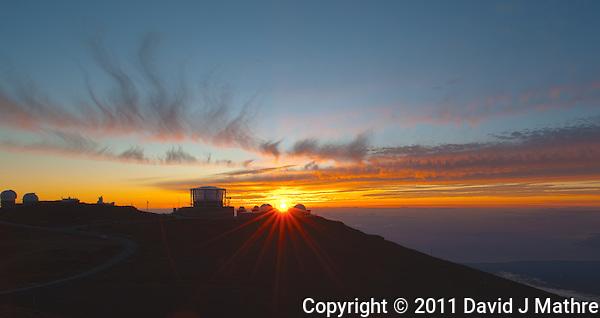 Sunset over Haleakala Satellite Tracking Station from Pu'U'Ula'Ula peak in Haleakala National Park, Maui Hawaii. Image taken with a Nikon D3x and 24 mm f/3.5 PC-E lens (ISO 100, f/16, 1/10 sec). Photoshop CS5 HDR Pro (5 images) (David J Mathre)