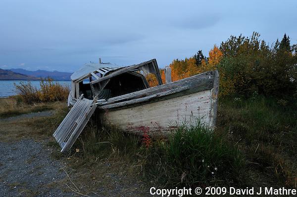 Derelict Boat at Burwash Landing, Yukon Canada. On Kluane Lake along the Alaska Canada Highway. Image taken with a Nikon D3 and 14-24 mm lens (ISO 800, 24 mm, f/8, 1/30 sec) (David J Mathre)