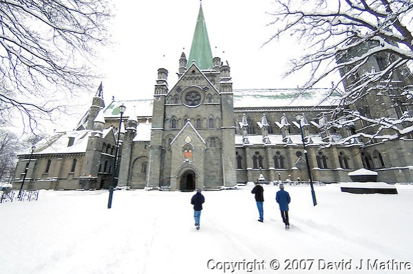 Nidaros Cathedral in Trondheim, Norway. Image taken with a Nikon D2xs and 10.5 mm f/2.8 fisheye lens (ISO 400, 10.5 mm, f/2.8, 1/80 sec) (David J. Mathre)