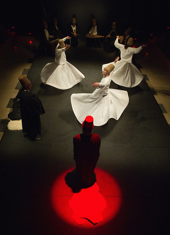 VENICE, ITALY - JUNE 21:  Whirling Dervishes of the Galata Mevlevi Ensemble,declared UNESCO World Heritage, perfom under the guidance of Sheikh Nail Kesova at Auditorium Candiani on June 21, 2011 in Venice, Italy. The whirling dance associated with Dervishes, is the practice of the Mevlevi Order in Turkey, and is part of a formal ceremony known as the Sema which is only one of the many Sufi ceremonies performed to try to reach religious ecstasy (Marco Secchi)