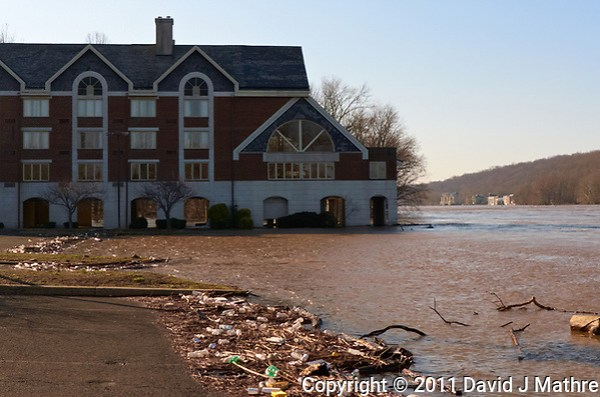 Delaware river after late winter flooding under the Labertville Inn. Image take with a Leica D-Lux 5 camera (ISO 100, 11 mm, f/4, 1/800 sec). (David J Mathre)