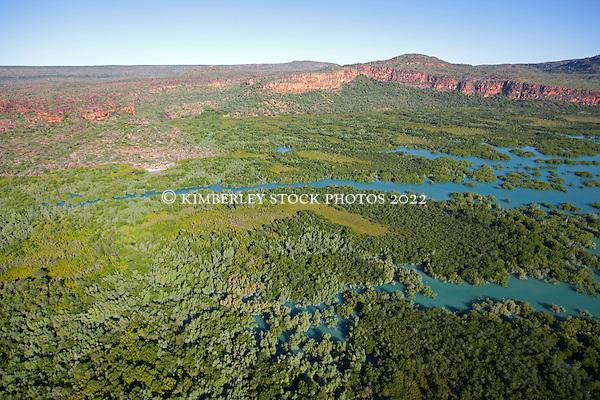 An extensive mangrove system meets the sandstone escarpment near the Hunter River on the Kimberley coast. (Richard Costin/© Kimberley Media)