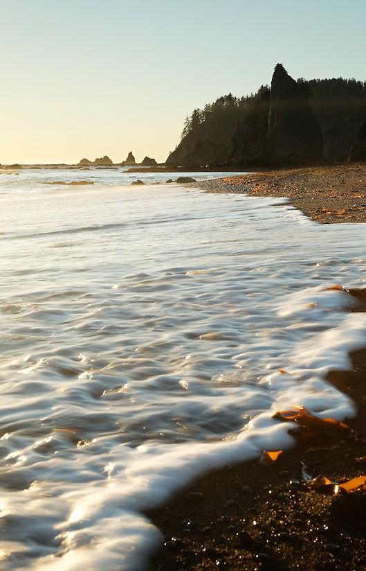 Seafoam surf rolling onto beach, Rialto Beach, Olympic National Park, Washington State, USA (Copyright Brad Mitchell Photography.9601 Wall St.Snohomish, WA 98296.USA.425-418-7279.brad@bradmitchellphoto.com)